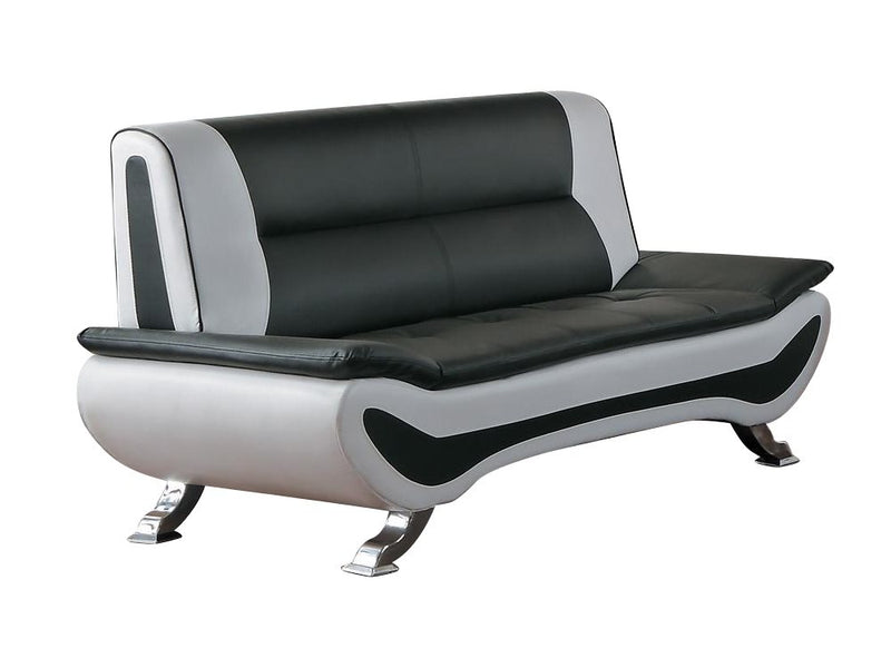Homelegance Veloce Park Love Seat in Black & White Leather