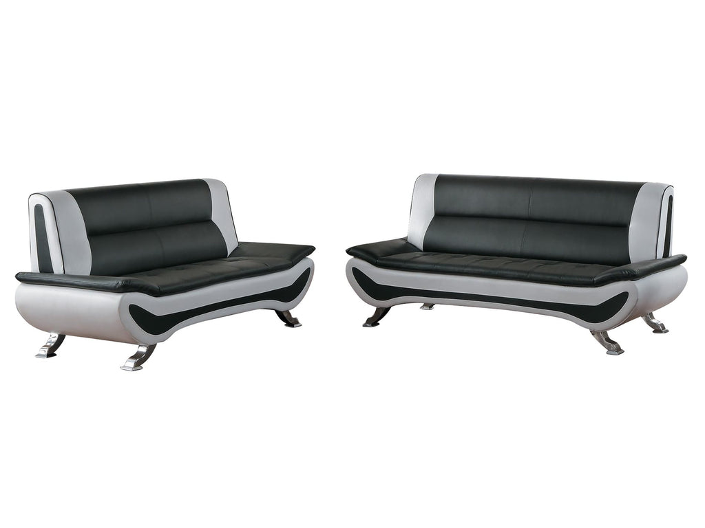 Homelegance Veloce Park 2PC Sofa & Love Seat in Black & White Leather