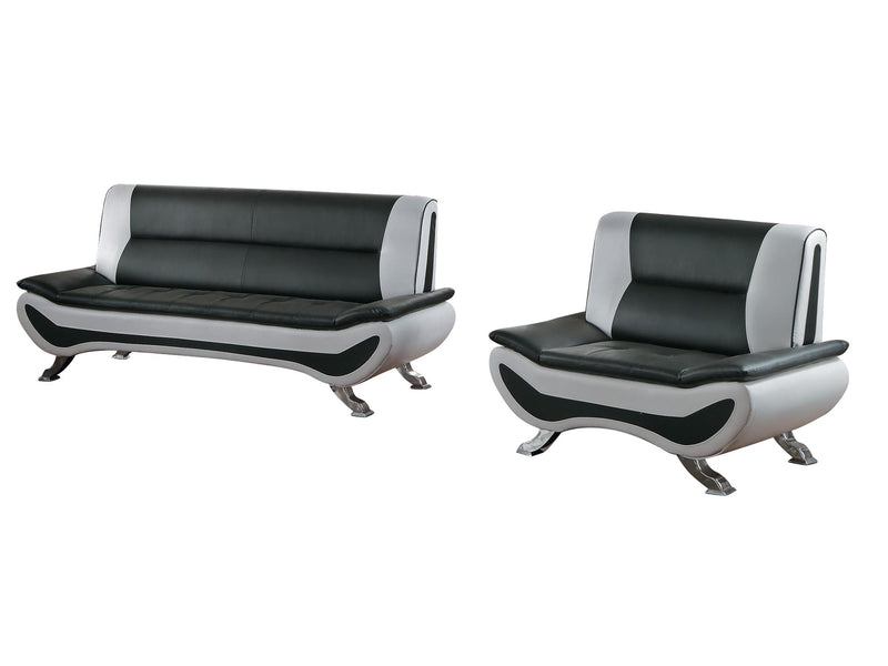 Homelegance Veloce Park 2PC Sofa & Chair in Black & White Leather
