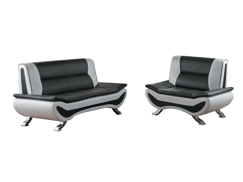 Homelegance Veloce Park 2PC Love Seat & Chair in Black & White Leather