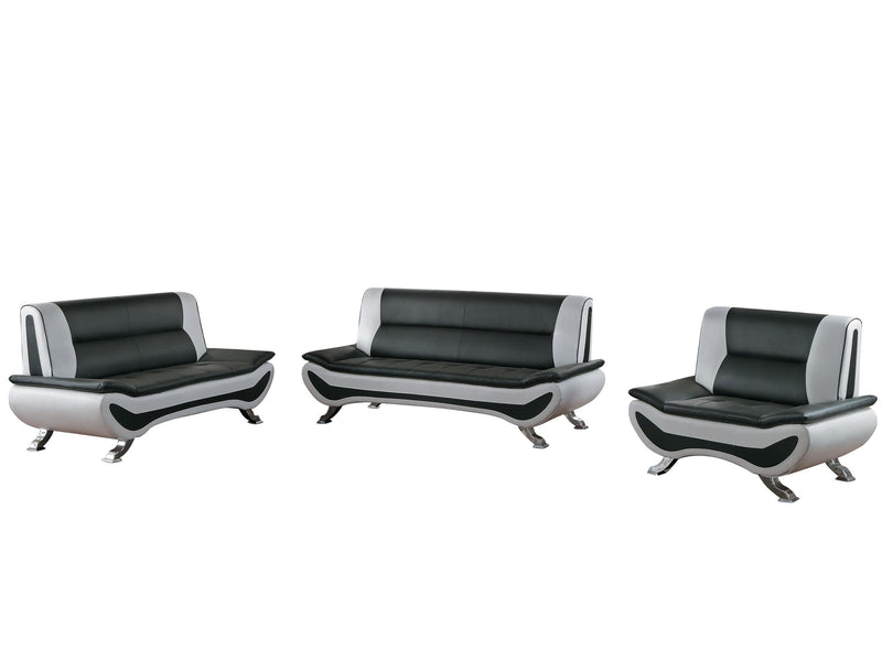 Homelegance Veloce Park 3PC Sofa, Love Seat & Chair in Black & White Leather