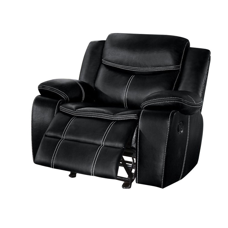 Homelegance Bastrop Glider Reclining Chair in Leather - Black