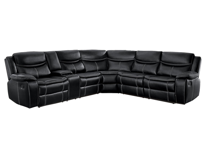 Homelegance Bastrop Reclining Sectional with Console in Black Leather