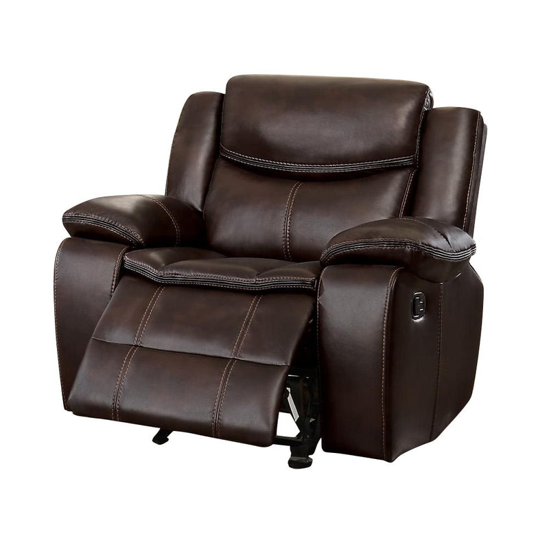 Homelegance Bastrop Double Reclining Sofa in Leather - Dark Brown