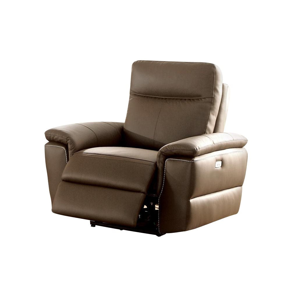 Homelegance Olympia Power Reclining Chair in Top Grain Leather - Raisin