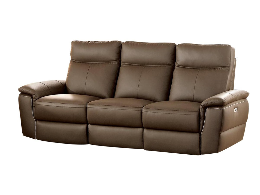Homelegance Olympia 3PC Power Double Reclining Sofa, Double Reclining Love Seat & Reclining Chair in Top Grain Leather - Raisin