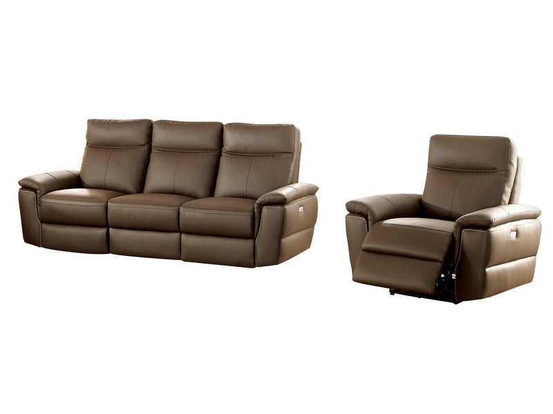 Homelegance Olympia 2PC Power Double Reclining Sofa & Reclining Chair in Top Grain Leather - Raisin