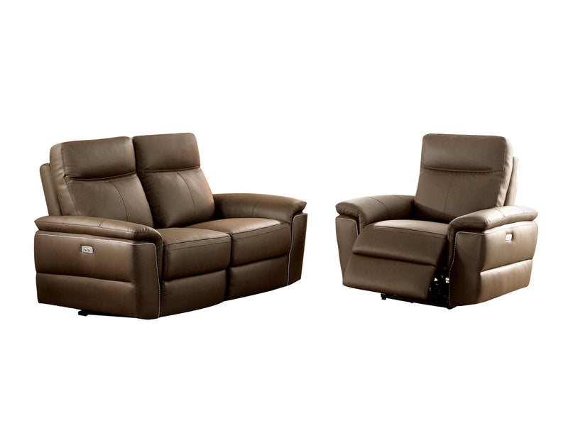 Homelegance Olympia 2PC Power Double Reclining Love Seat & Reclining Chair in Top Grain Leather - Raisin