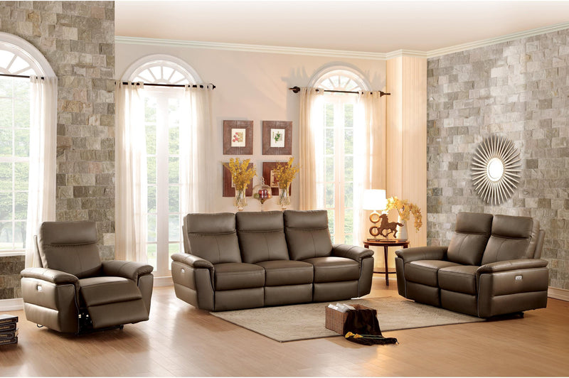 Homelegance Olympia Power Double Reclining Love Seat in Top Grain Leather - Raisin