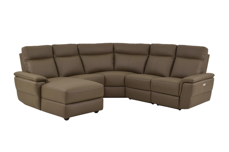 Homelegance Olympia 5PC Power Sectional Left Chaise, 2 Chair, Corner & Right Recliner Chair in Brown Taupe Top Grain Leather