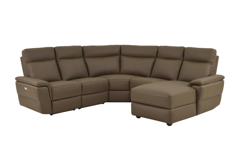 Homelegance Olympia 5PC Power Sectional Left Recliner Chair, 2 Chair, Corner & Right Chaise in Brown Taupe Top Grain Leather