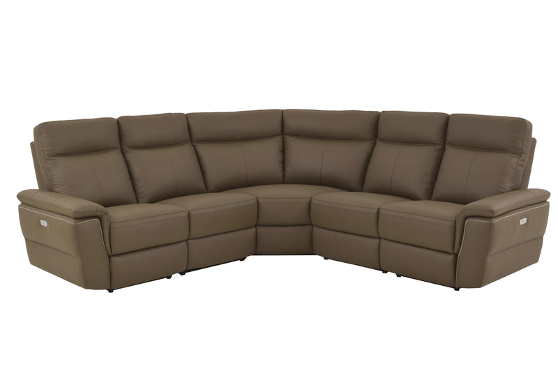 Homelegance Olympia 5PC Power Sectional Left & Right Recliner Chair, 2 Chair, Corner Seat in Brown Taupe Top Grain Leather