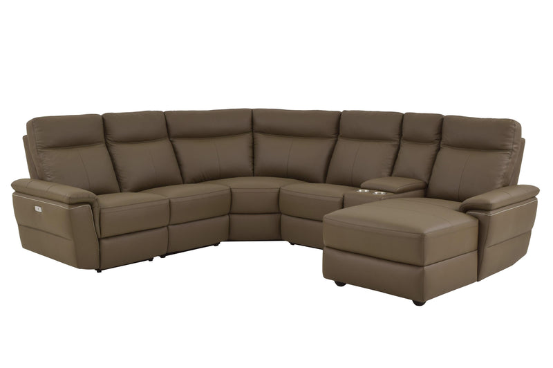 Homelegance Olympia 6PC Power Sectional Left Chair, Console, 2 Chair, Corner & Right Chaise in Brown Taupe Top Grain Leather