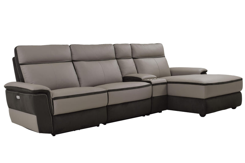 Homelegance Laertes 4PC Power Sectional Right Recliner Chair, Chair, Console & Left Chaise in Top Grain Grey Leather
