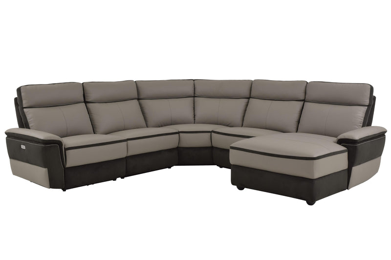Homelegance Laertes 5PC Power Sectional Left Recliner Chair, 2 Chair, Corner & Right Chaise in Top Grain Grey Leather