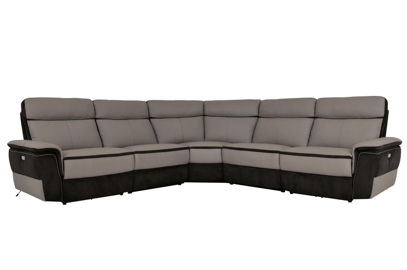 Homelegance Laertes 5PC Power Sectional Left & Right Recliner Chair, 2 Recliner Chair, Corner in Top Grain Grey Leather