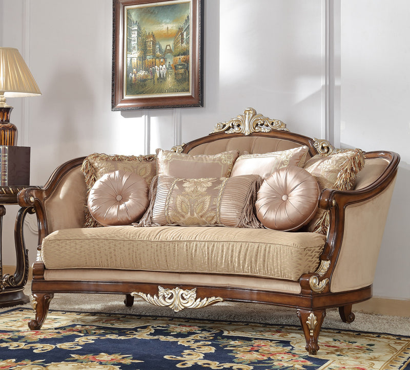 Fabric Loveseat in Mahogany Finish L8320 European Traditional Victorian