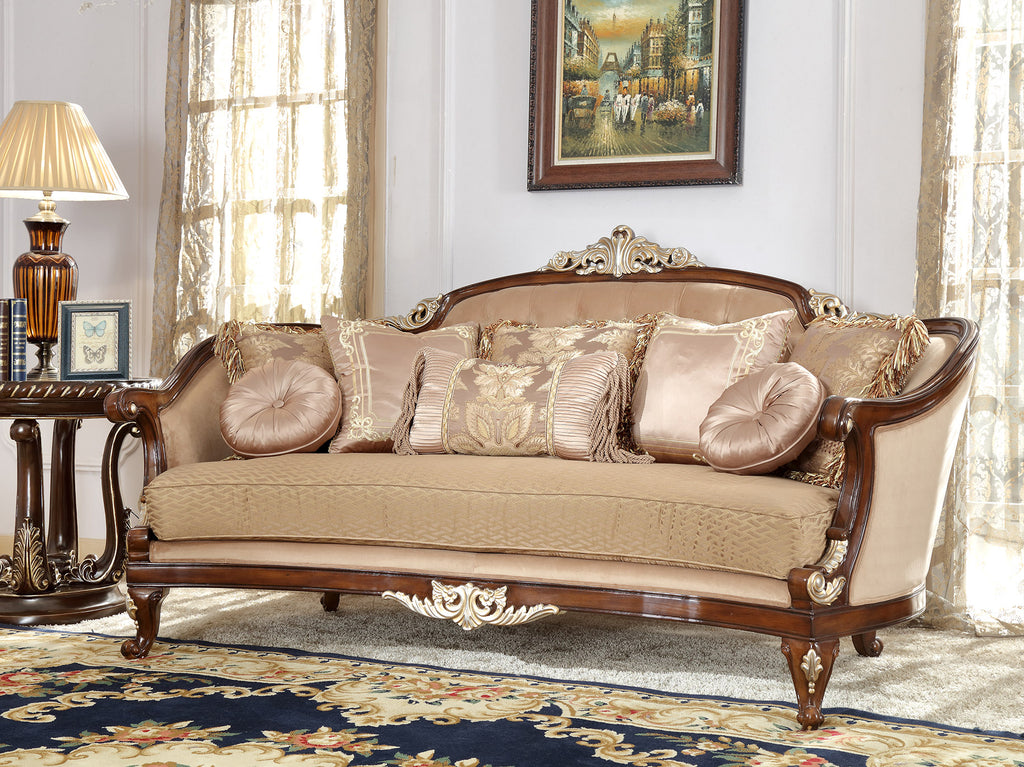 Fabric Sofa in Mahogany Finish S8320 European Traditional Victorian