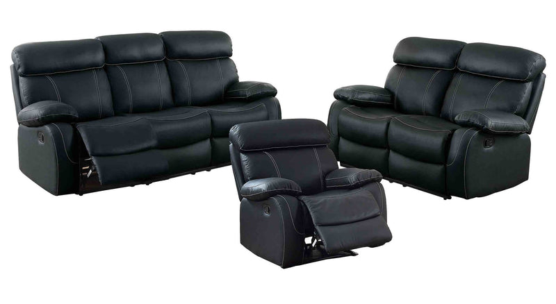 Homelegance Pendu 3PC Double Reclining Sofa, Love Seat & Recliner Chair in Black Leather