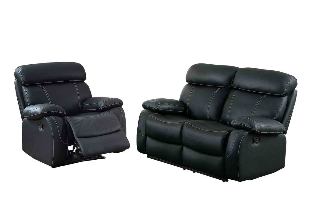 Homelegance Pendu 2PC Double Reclining Love Seat & Recliner Chair in Black Leather