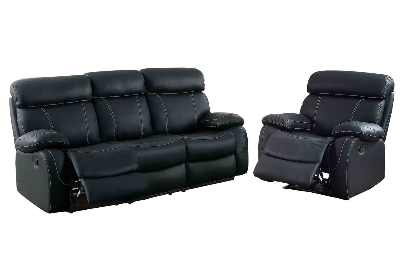 Homelegance Pendu 2pc Double Reclining Sofa Recliner Chair In Black Leather