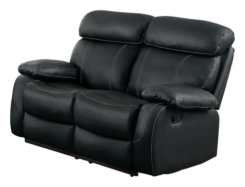 Homelegance Pendu Double Reclining Love Seat in Black Leather
