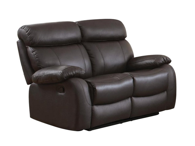 Homelegance Pendu Double Reclining Love Seat in Brown Leather