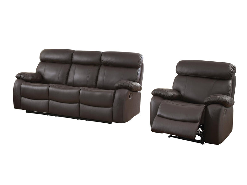 Homelegance Pendu 2PC Double Reclining Sofa & Recliner Chair in Brown Leather