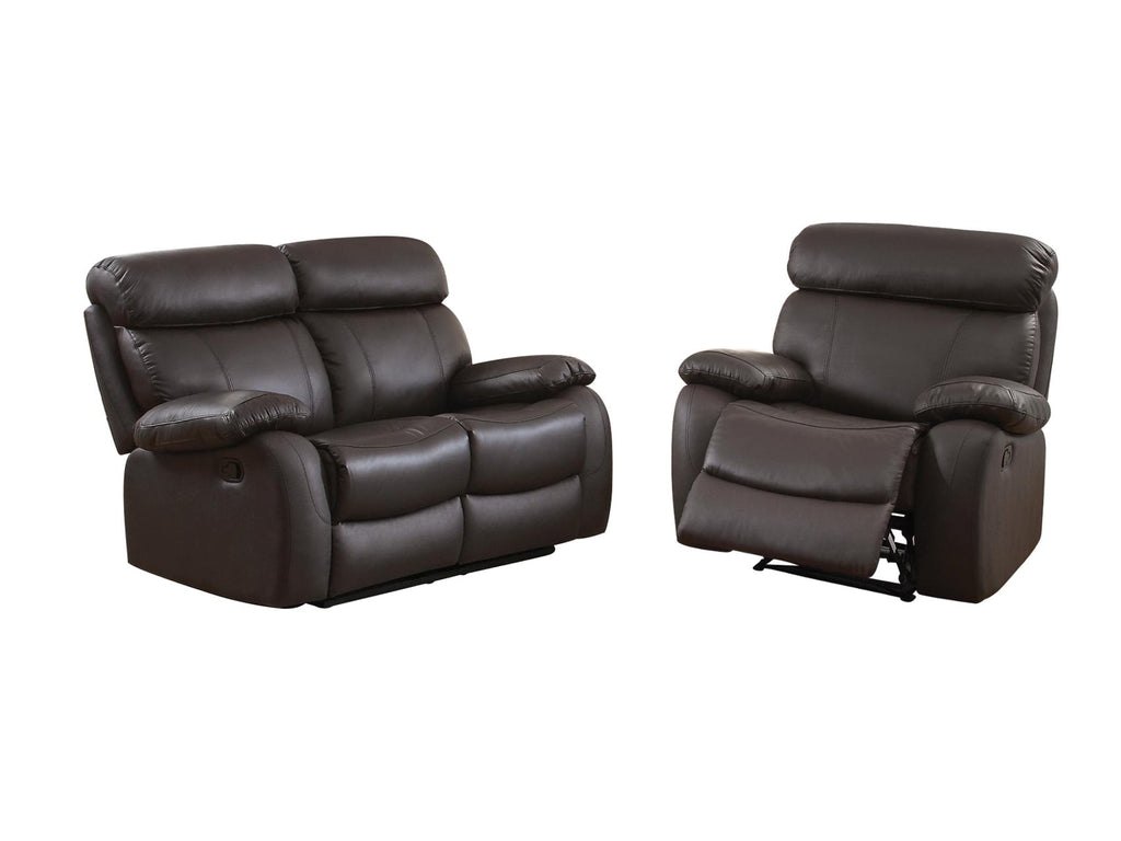 Homelegance Pendu 2PC Double Reclining Love Seat & Recliner Chair in Brown Leather