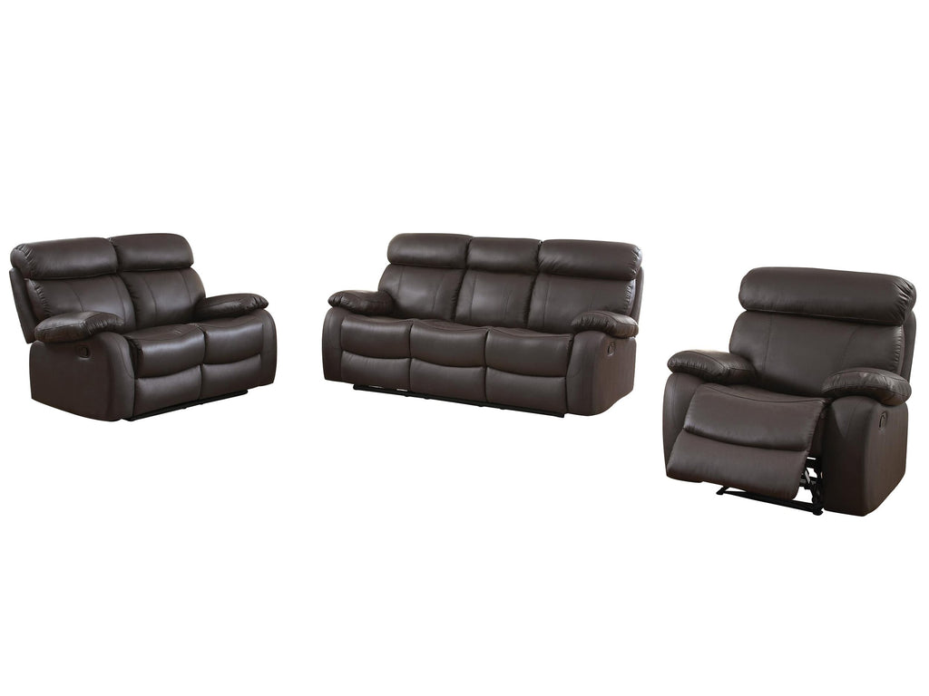 Homelegance Pendu 3PC Double Reclining Sofa, Love Seat & Recliner Chair in Brown Leather