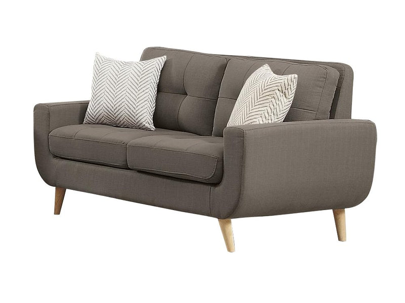 Homelegance Deryn 2PC Love Seat & Chair in Grey Fabric