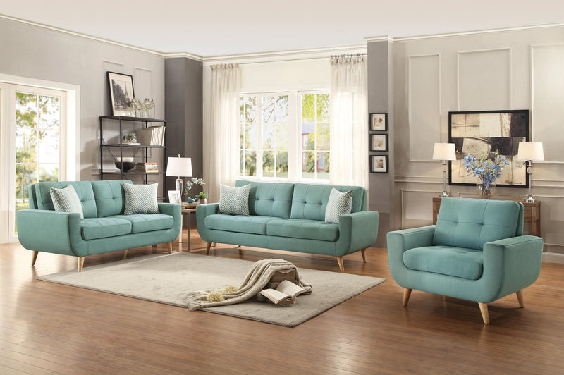 Homelegance Deryn 2PC Sofa & Chair in Teal Fabric