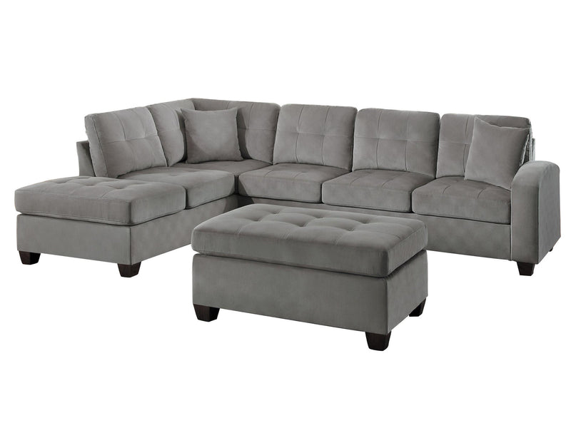 Homelegance Emilio 3PC Reversible Chaise Sectional & Ottoman in Taupe Fabric