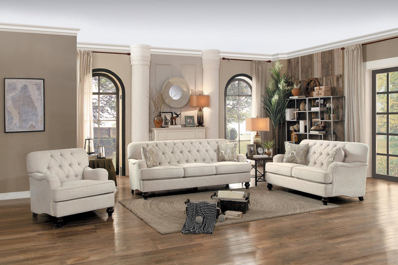 Homelegance Clemencia Park Love Seat in Natural Fabric