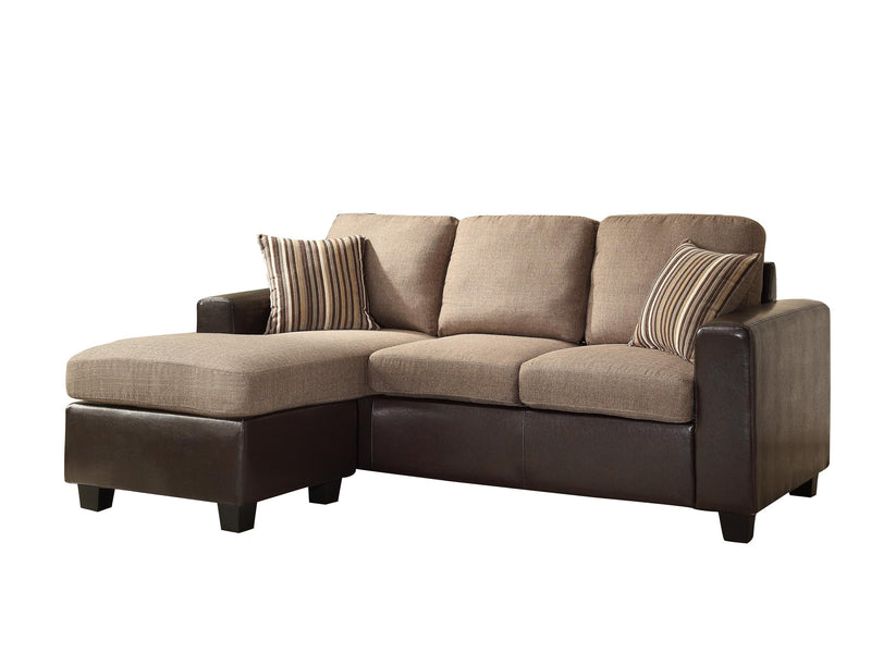 Homelegance Slater Reversible Sofa Chaise in Dark Brown Fabric
