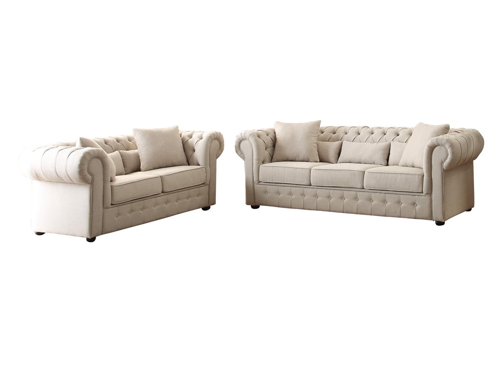 Homelegance Savonburg Park 2PC Set Sofa & Love Seat in Natural Fabric
