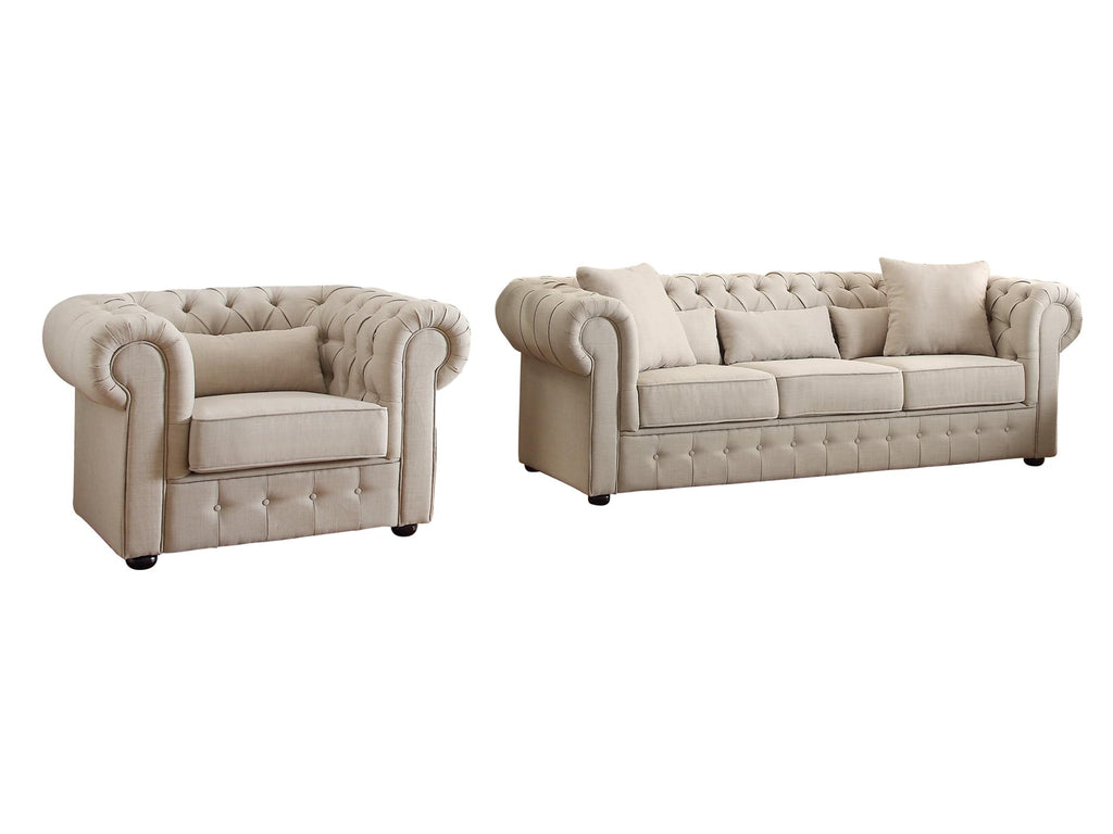 Homelegance Savonburg Park 2PC Set Sofa & Chair in Natural Fabric