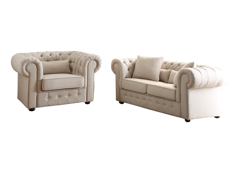Homelegance Savonburg Park 2PC Set Love Seat & Chair in Natural Fabric