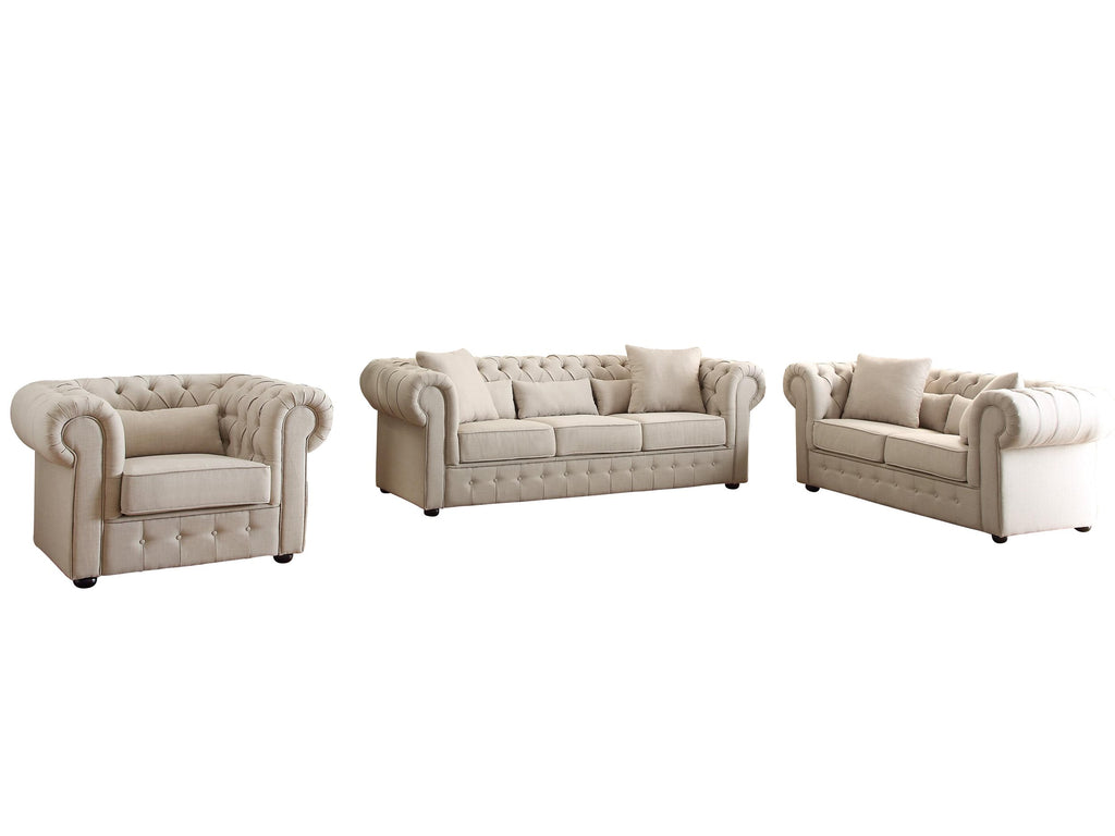 Homelegance Savonburg Park 3PC Set Sofa, Love Seat & Chair in Natural Fabric
