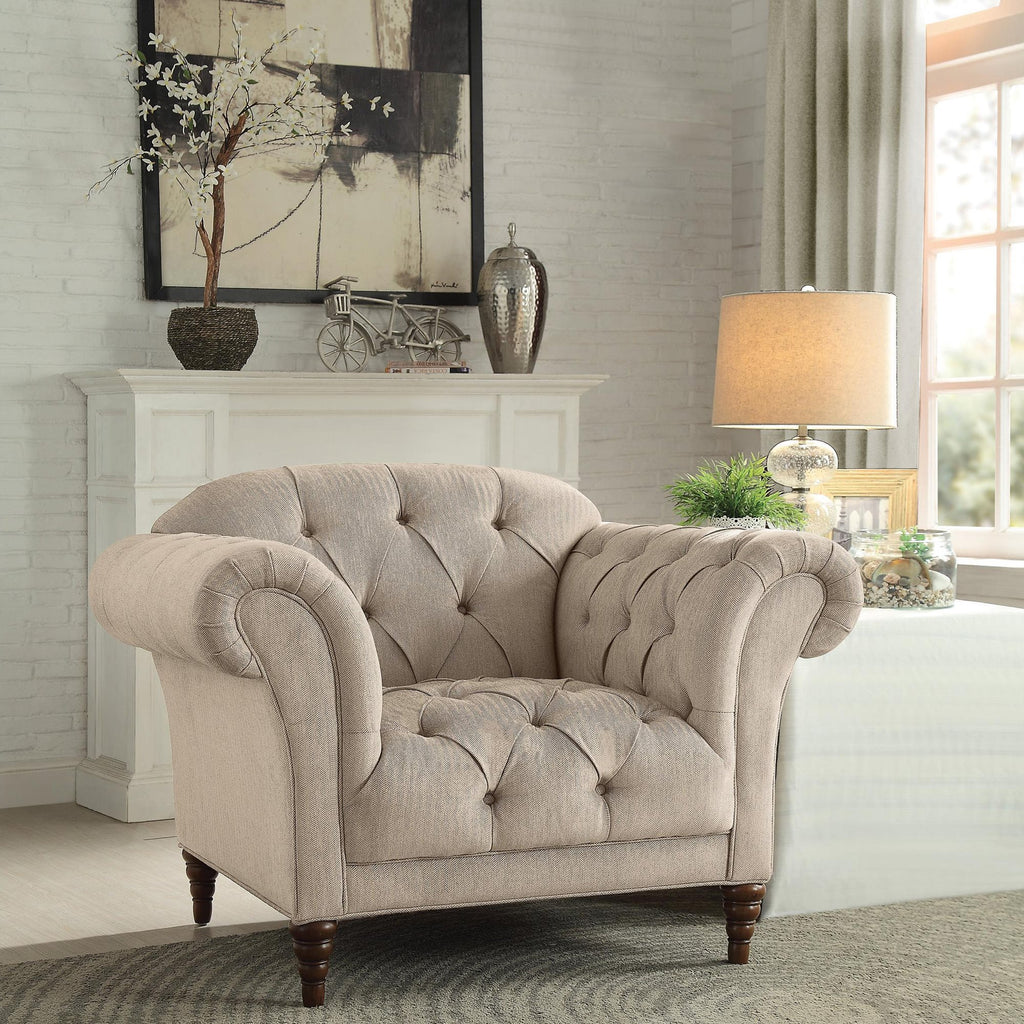 Homelegance St. Claire Park Chair in Fabric - Cherry