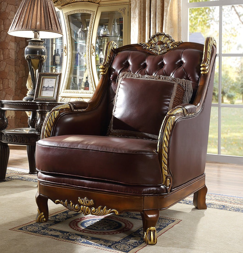 Leather Chair in Mahogany & Metallic Bright Gold Finish C89 European Victorian