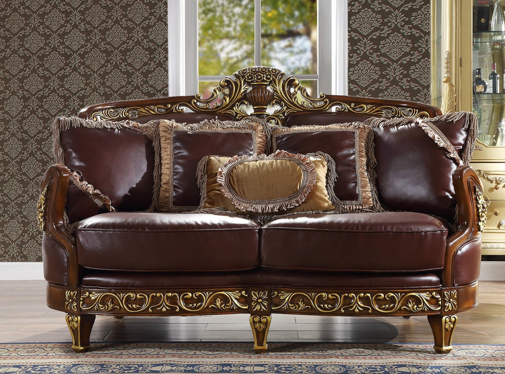Leather Loveseat in Mahogany & Metallic Bright Gold Finish L89 European Victorian