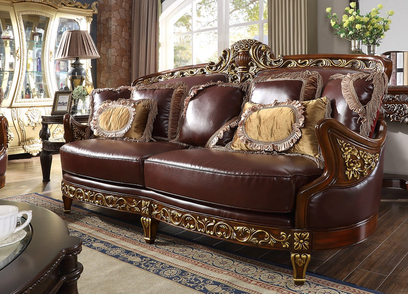 Leather Sofa in Mahogany & Metallic Bright Gold Finish S89 European Victorian