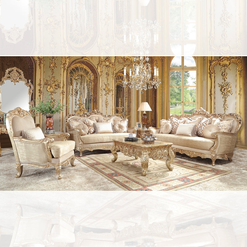 Fabric 3 PC Sofa Set in Antique Gold w Silver Champagne Finish 89253PC European