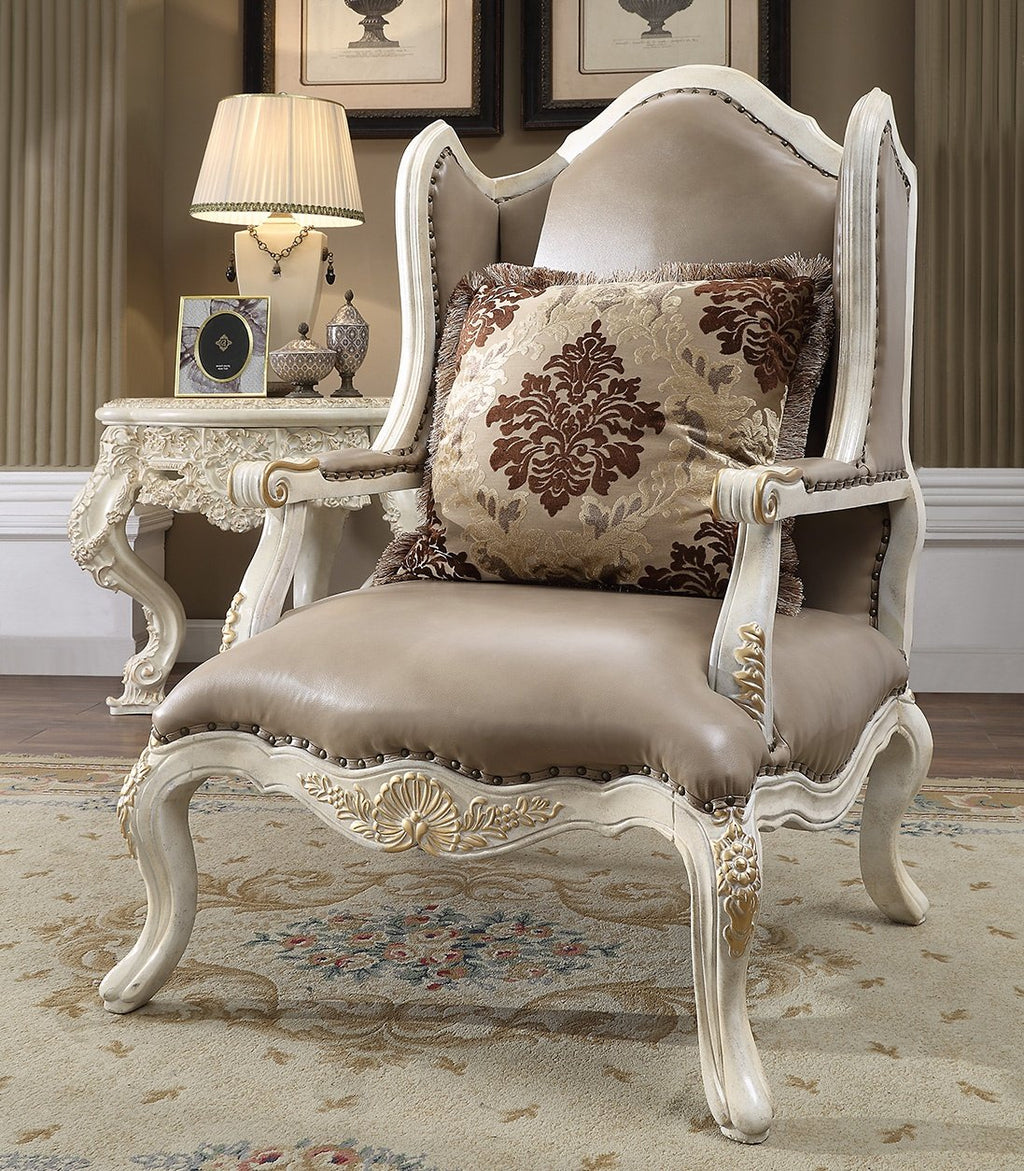 Leather Chair in Cove White & Metallic Bright Gold Accent Finish C90 European
