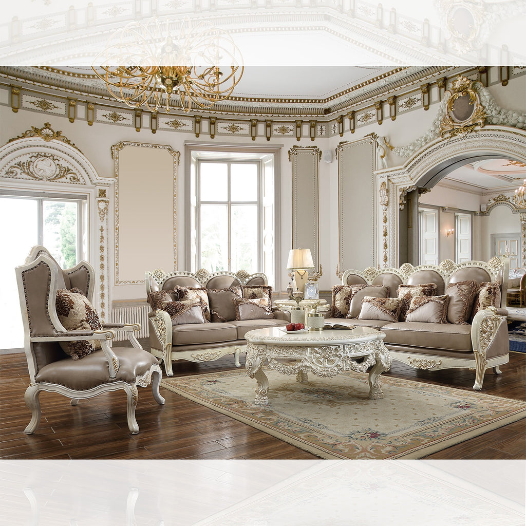 Leather 3 PC Sofa Set in Cove White & Metallic Gold Accent Finish 90-SSET3 European