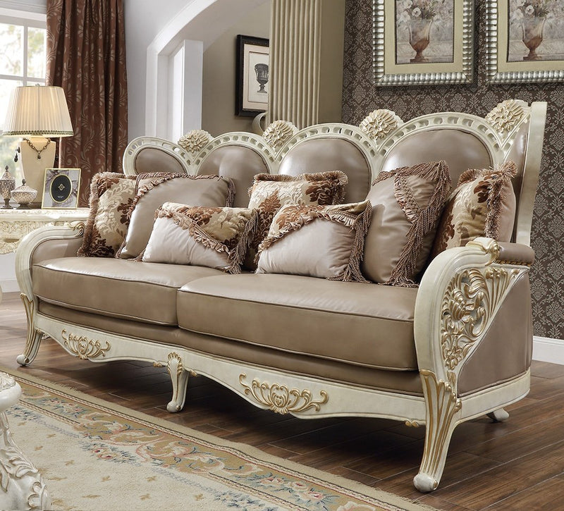 Leather Sofa in Plantation Cove White & Metallic Gold Accent Finish S90 European