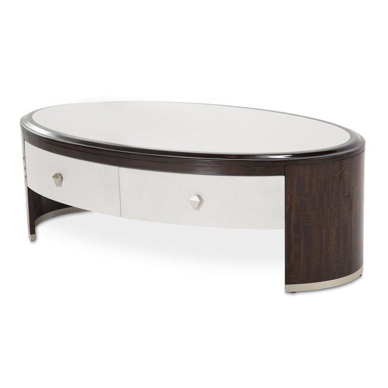 Aico Amini Paris Chic Oval Cocktail Table in Espresso