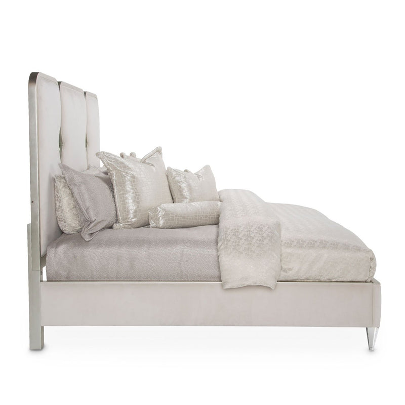 Aico Amini Camden Court E King Upholstered Crystal Panel Bed in Pearl