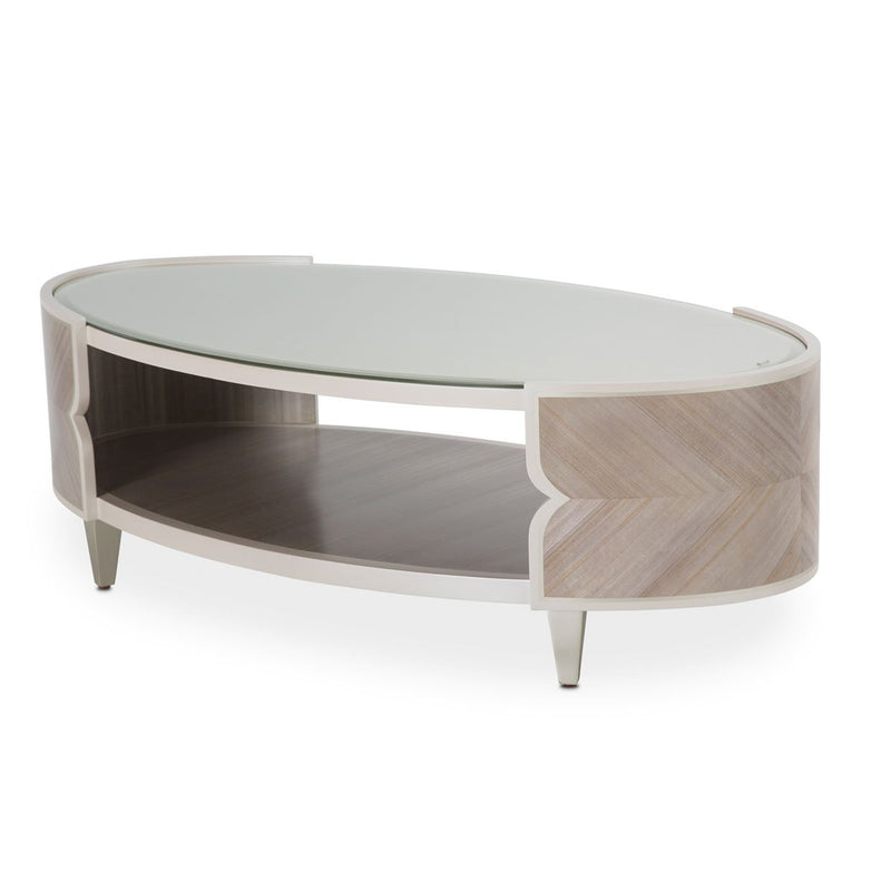 Aico Amini Camden Court in Oval Cocktail Table in Pearl